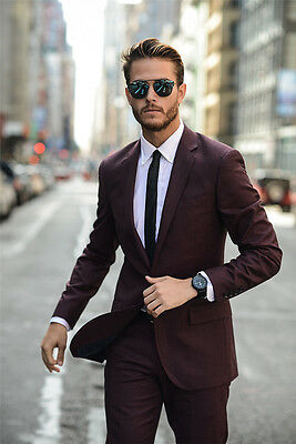 Burgundy Formal 2 Piece Business Suits Men's Wedding Suits Groom Tuxedo Custom