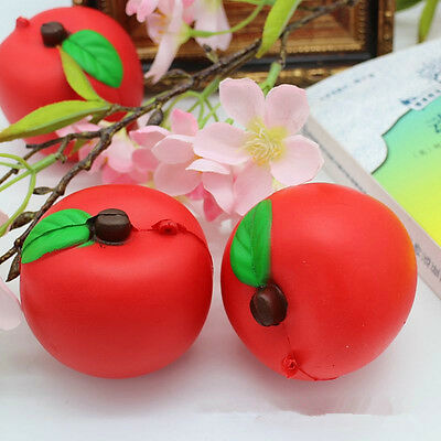 Jumbo Soft Squishy Apple Charms Cream Scented Slow Rising Phone Strap Kids Toy