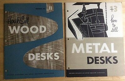 lot of 2 *HOW TO SELL METAL & WOOD DESKS* 1951 manuals MID CENTURY