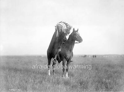 "Photo 1900s Sioux Indian ""The Prairie Chief"" on Horse"