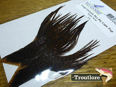 Nature's Spirit Brown Grizzly Genetic Dry Fly Hackle Cape Top - New Feathers
