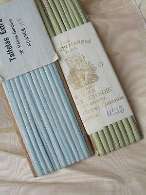 2 cards antique French pure silk taffeta ombree ribbon ribbonwork embroidery A