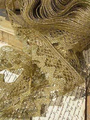 Unused length 8 metres antique vintage French gold metallic thread lace trim