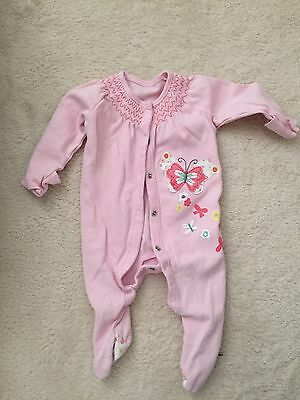 2x Pink Baby Girl Sleepsuits With Mittens 0-3months