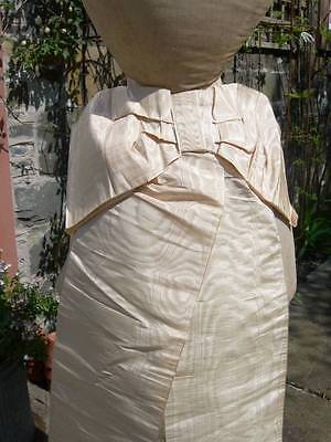 Divine antique French watered silk pale apricot wide ribbon bustle bow