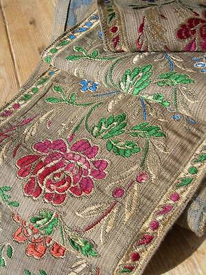 Antique French woven silk and gold metallic brocade panel - 245cms long