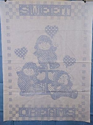 Elfves w Heart Balloons Sweet Dreams Stamped Embroidery Cotton Baby Quilt Top
