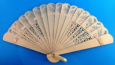 Antique cream celluloid cut work filigree hand fan early 1900's