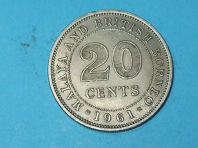 1961 20 CENTS MALAYA AND BRITISH BORNEO Very Collectable World Coin