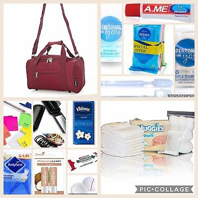 Burgundy pre-packed hospital/maternity bag holdall Essentials for Mum & Baby