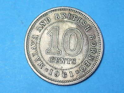 1961 H 10 Cents Malaya And British Borneo  - Collectable World Coin