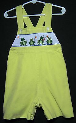 Toddler boy's short yellow overalls with smocked frogs size 2
