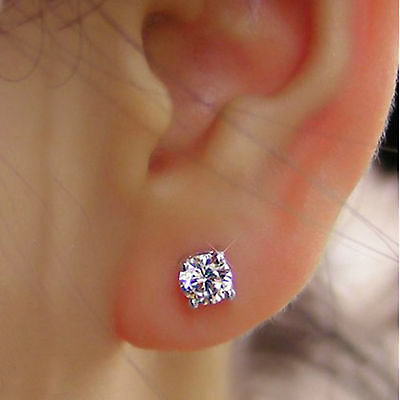 1.00 Ct Solitaire Diamond Earrings Solid 14K White Gold Round Cut Earring Studs