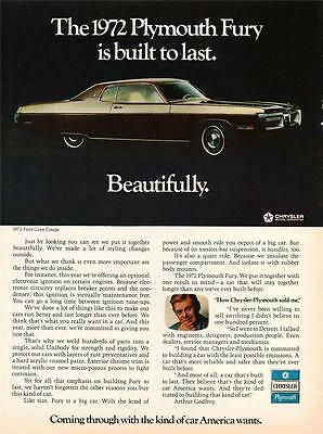 Old Print.  1972 Plymouth Fury Gran Coupe Auto Advertisement
