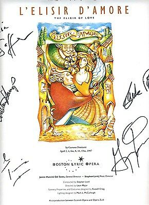 Boston Lyric Opera Poster Signed By Cast L'Elisir D'Amore