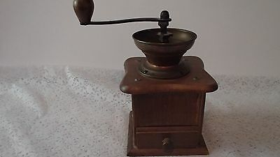 Vintage Coffee Grinder Mill  Wood w/Open Brass & Cast Iron Hopper