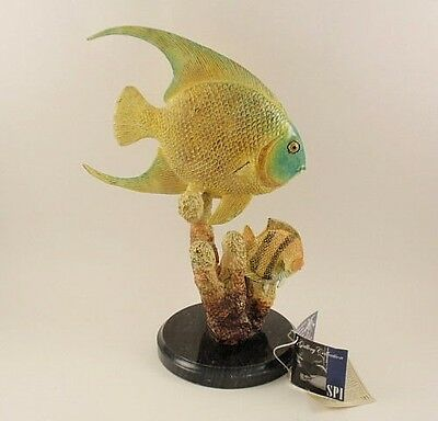 "SPI ANGEL FISH with CORAL 12"" Sculpture MIB Hand Crafted Bronze Figurine"