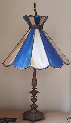 Wonderful Antique Brass Table Lamp - Stained Glass Shade -  VGC - BEAUTIFUL