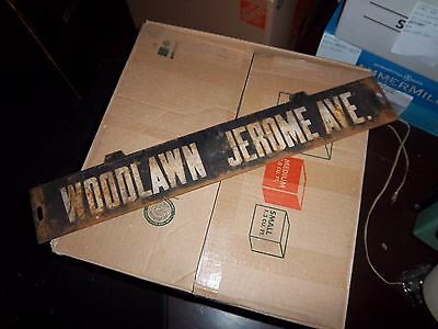 Nyc Subway Woodlawn Jerome Avenue Bronx Ny Metal Lo-V Insert Sign Collectible