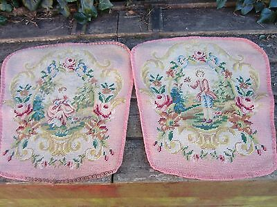 Pair Of Antique French Tapestry Seat Covers