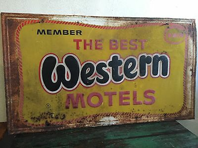 "Vintage Best Western Motels 60s Original 58"" Metal Advertising Sign Hotel Travel"