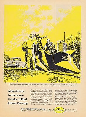 1960 Ad - FORD MOUNTED PICKER ON TRACTOR & F-100 PICKUP