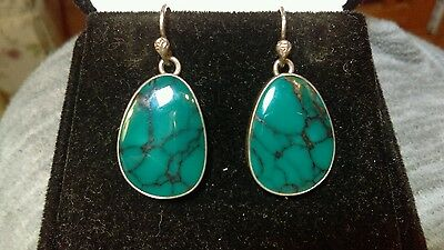 Vintage Navajo High Grade Mystery Turquoise Sterling Silver Earrings