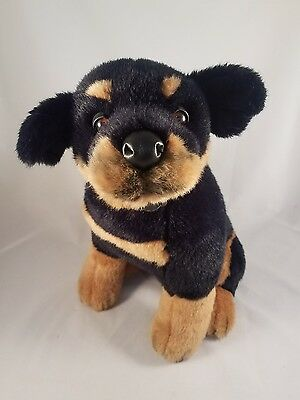 "FAO Schwarz ROTTWEILER Puppy Plush 16"" Dog Fifth Avenue Sitting Pose Stuffed"