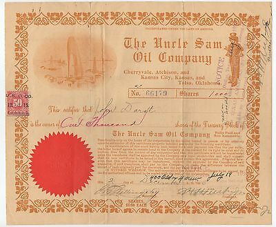 Old Stock Certificate The Uncle Sam Oil Company Kc Ok Uncle Sam Graphics 1922
