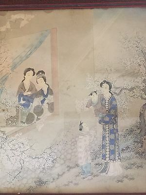Antique Japanese Watercolor Painting Framed