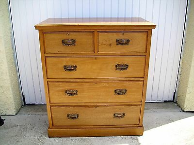 Late Victorian Edwardian Solid Satinwood Chest of Drawers 2 Over 3 NOT Mahogany