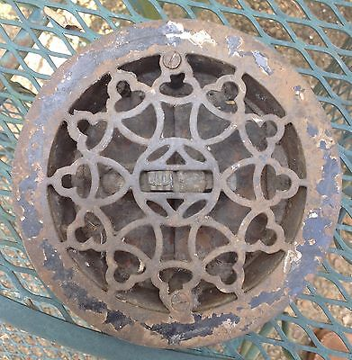 """Antique Cast Iron Heating Grate Vent 7"""" Round Victorian Floor Wall Vent"""