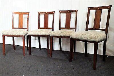 Antique set of 4 inlaid mahogany dining chairs