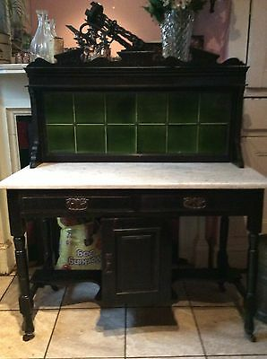 Edwardian/victorian Washstand Marble Top & Tiles
