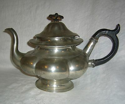 ANTIQUE 1800's PEWTER BROADHEAD & ATKIN MELON TEAPOT W/ BLACK WOOD HANDLE FINIAL