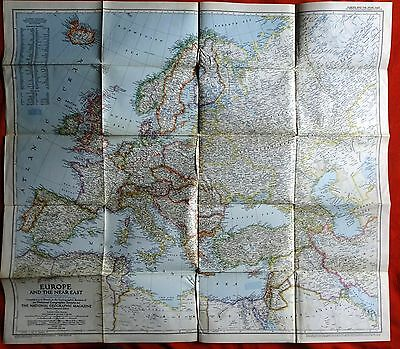 National Geographic Map 1949 Europe and the Near East