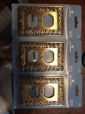 Wall Switch Plates (3) Antique Brass