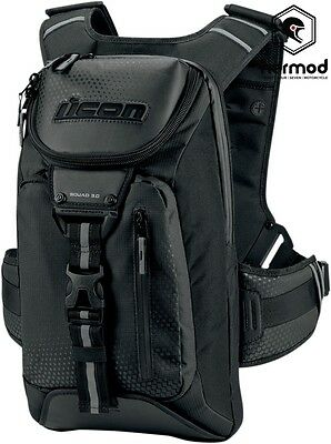 Icon Squad 3 Motorcycle Backpack Rucksack Bag - Black