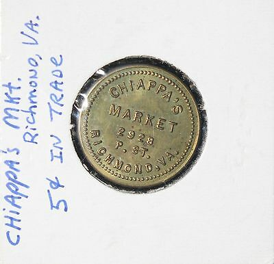 Chiappa's Market, Richmond VA 5 Cent in Trade Token