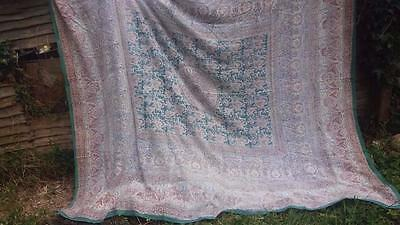 VINTAGE 1940's HAND BLOCK PRINT INDIAN COTTON BEDSPREAD TABLECLOTH FABRIC