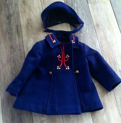 Vintage Rothschild Girls Wool Coat Jacket Blue Embroidered With Hat extra lot