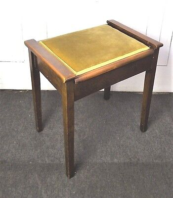 Antique vintage box piano stool / storage dressing table seat