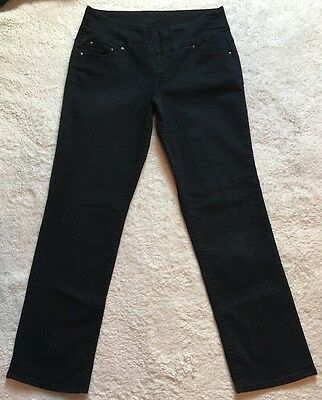 Women's Jag Pull On Stretch Jeans Black Straight Leg Size 16