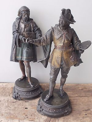 Fabulous Quality Pair Antique Cold Painted Spelter Figures, Artist And Scholar