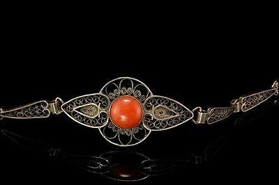 Antique Chinese Natural Red Coral Cabochon Sterling Silver Filigree Bracelet