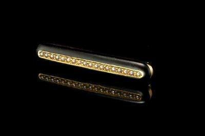 Antique Victorian Mourning Seed Pearl Black Enamel 14K Gold Pin Brooch