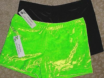 NEW Girls Fuschia stretch velvet shorts gymnastics sz Adult Small size 16  AS