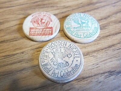 Lot of 3 -1957 Buffalo, NY Buffalo World Port Celebration 5 Cents Wooden Nickels
