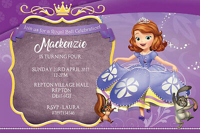 Personalised Princess Sofia The First Birthday Party Invites Inc Envelopes  S24