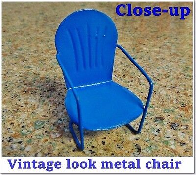 "2"" MINIATURE Vintage STYLE PAINTED METAL LAWN CHAIR for FAIRY GARDEN / DOLLHOUSE"